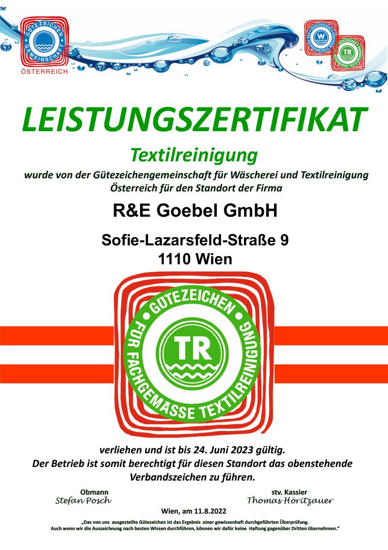 Zertifikat Textilreinigung