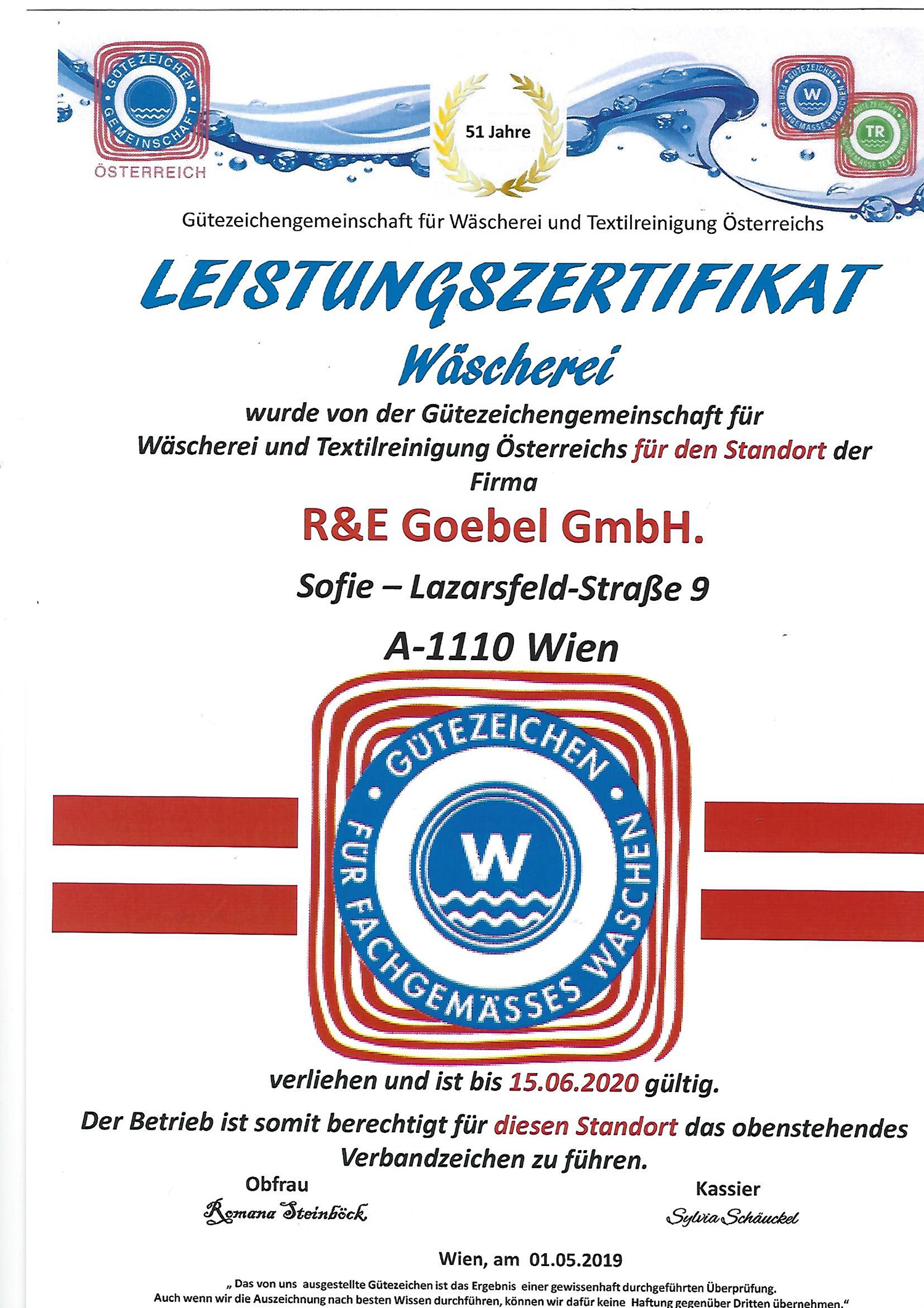 Zertifikat Waescherei